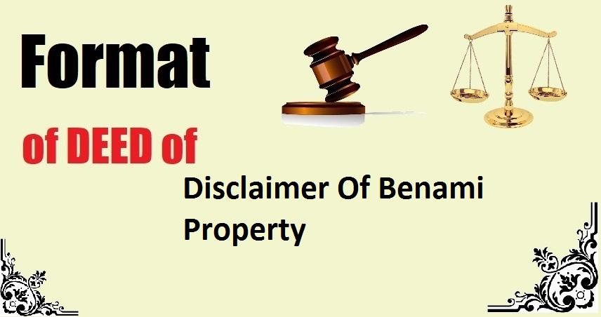 Disclaimer Of Benami Property Deed Format