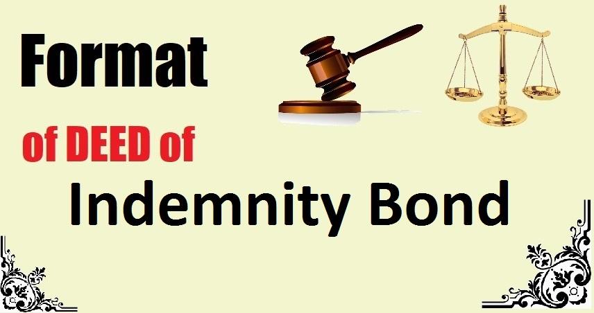 Indemnity Bond Deed Format