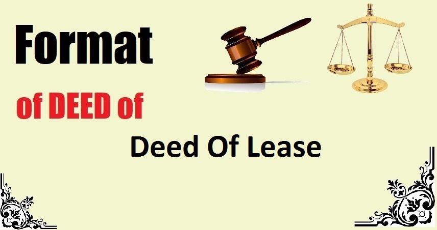 Deed Of Lease Deed Format