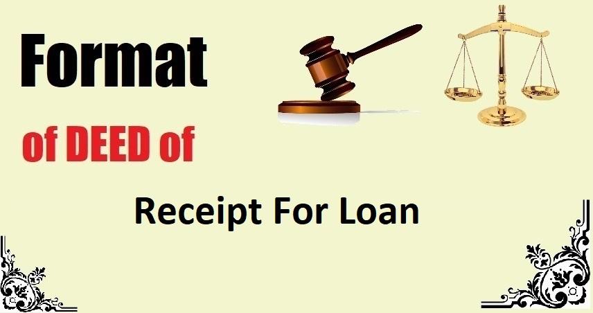 Receipt For Loan Deed Format