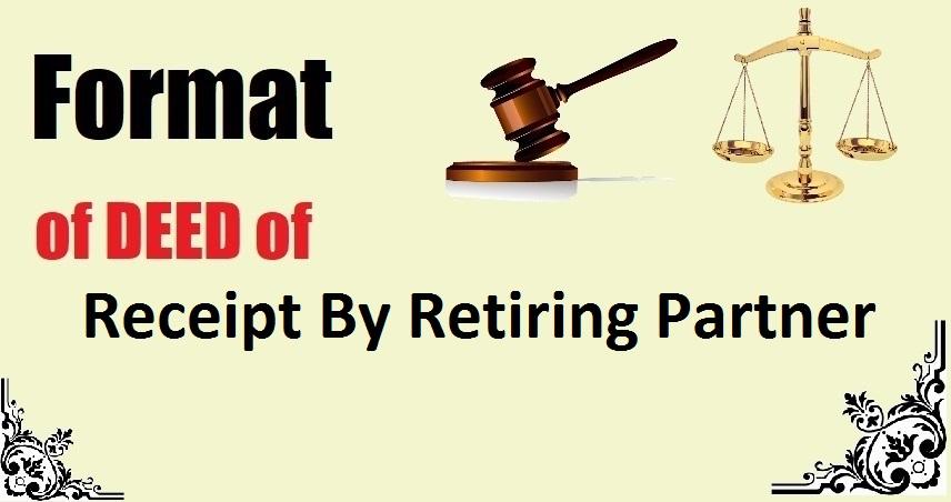 Receipt By Retiring Partner Deed Format