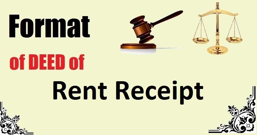 Rent Receipt Deed Format